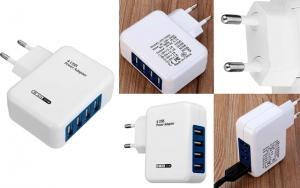 Praktisk 4 ports USB oplader